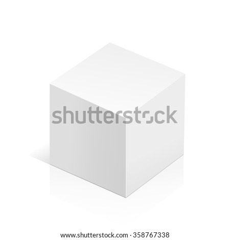 White realistic 3D box. Object isolated on white background. Template vector illustration for trade, stand or packaging design.