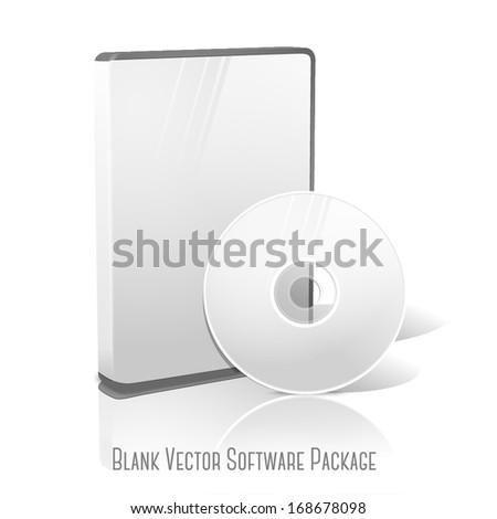 White realistic isolated DVD, CD, Blue-Ray case with DVD, CD disk on white background with reflection. With place for your text and pictures. Vector - stock vector