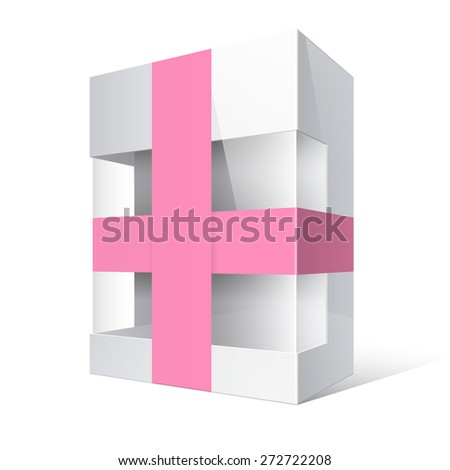 White Realistic Package Cardboard Box with a transparent plastic window and ribbon  - stock vector