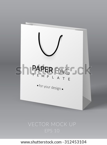 White realistic paper bag template. Vector illustration. EPS 10 - stock vector