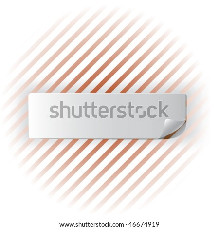 White realistic sticker on a striped background - stock vector
