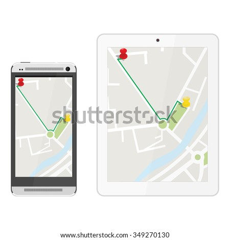 White realistic tablet and mobile smartphone with gps navigaton. Gps device. Navigation map. Gps navigator - stock vector