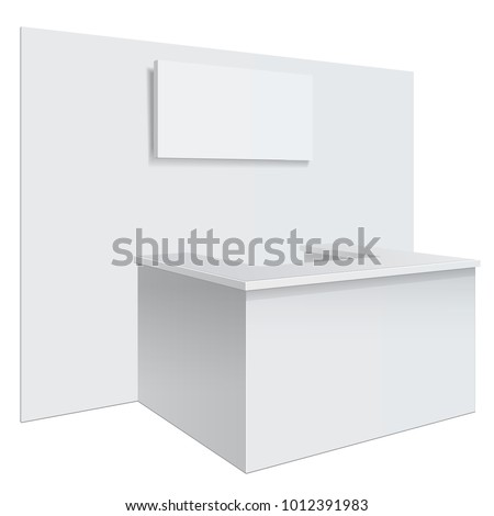 White reception or information desk. Isolated on the white background. MockUp Template For Your Design. Vector illustration.