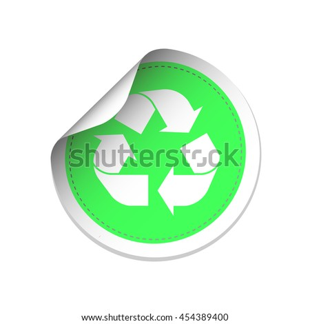 White recycle symbol on green label vector  illustration - stock vector