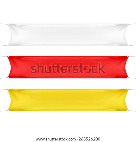 White, Red and Yellow Blank Empty Horizontal Rectangular Banners Set with Corners Ropes. Textile, Fabric or Nylon. Vector Illustration Isolated on Background. Ready Template for Your Text and Design - stock vector
