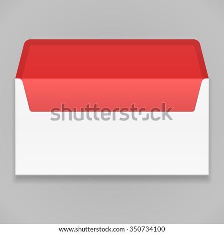 White Red Blank Envelope. Illustration Mock Up Template Ready For Your Design. Vector EPS10 - stock vector