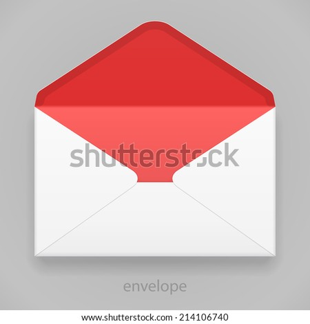 White Red Blank Envelope Isolated On Gray Background. Ready For Your Design. Product Packing Vector EPS10 - stock vector