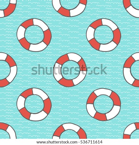 White red buoys on the sea surface. Hand drawing seamless vector pattern.