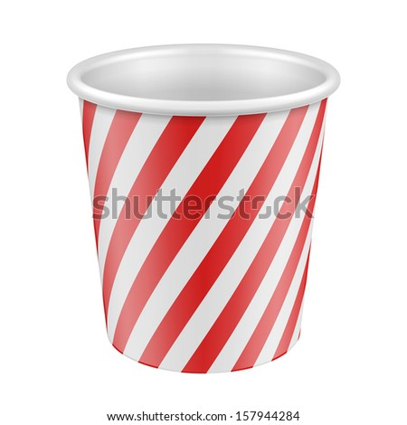 White Red Disposable Paper Cup. Container For Coffee, Java, Tea, Cappuccino, Dessert, Yogurt, Ice Cream, Sour Sream Or Snack. Ready For Your Design. Product Packing Vector EPS10 - stock vector