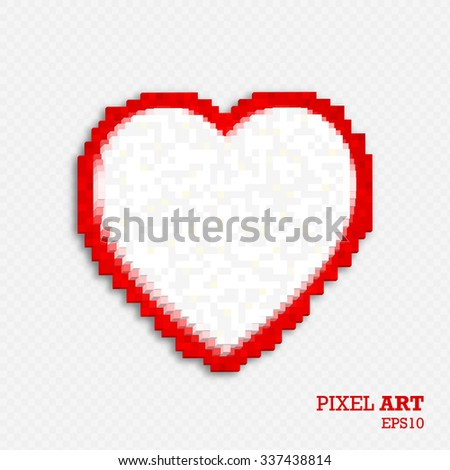 White-red heart made of three-dimensional cubes on a transparent grid background. Pixel art style. Mosaic background of geometric shapes. Vector illustration. - stock vector
