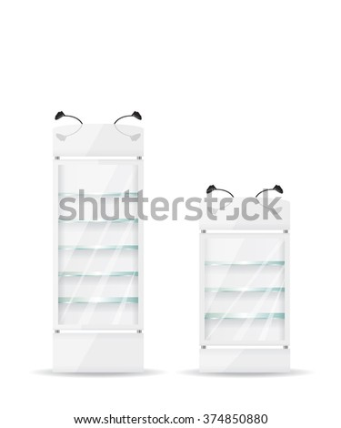 White refrigerator with glass shelves - stock vector