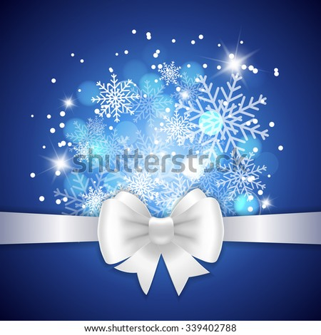 White ribbon and bow on blue background. Vector illustration for Christmas posters, icons, Christmas greeting cards, Christmas print and web projects. - stock vector
