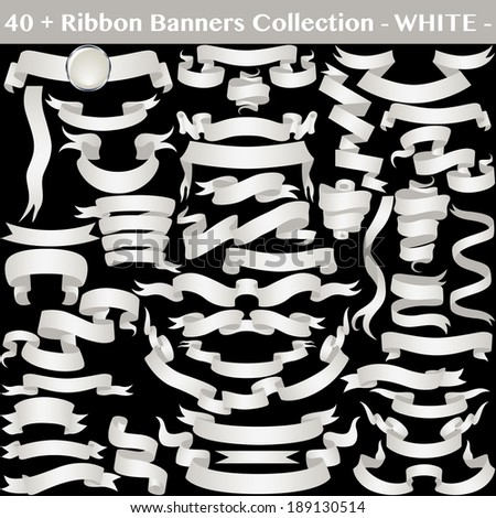White Ribbon Banners Collection Isolated on Black. Vector  - stock vector