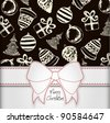 White Ribbon Bow Christmas Card - stock vector