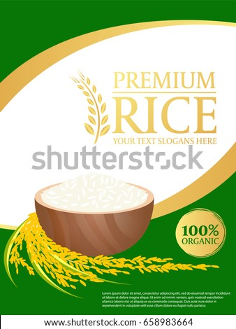 white rice and paddy rice on gold green background, Layout template Vector design