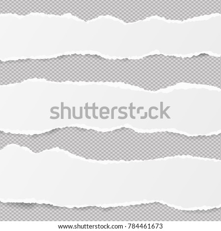 White ripped blank horizontal note paper strips for text or message stuck on gray background.