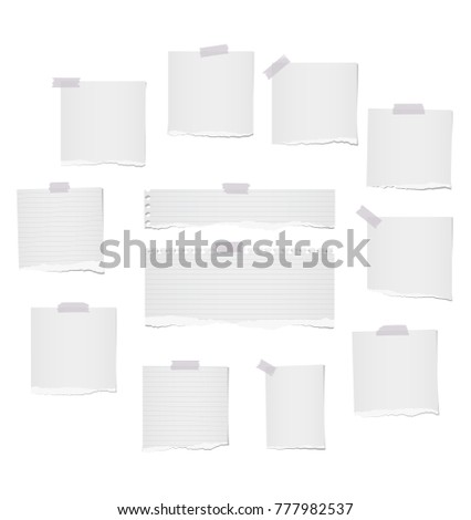 White ripped lined and blank note, notebook paper strips for text or message stuck with gray sticky tape on white background.