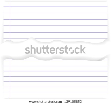 white ripped lined paper