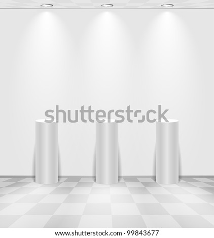White room with stands