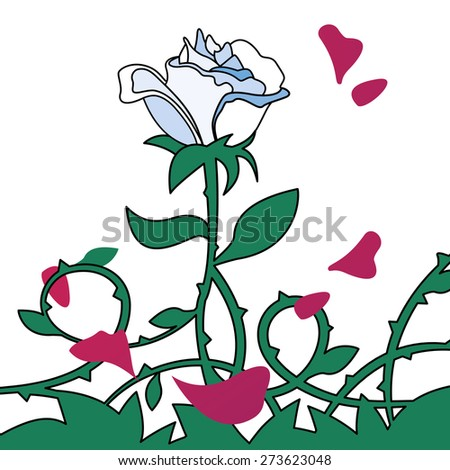 White rose illustration with red petals isolated on white background. - stock vector