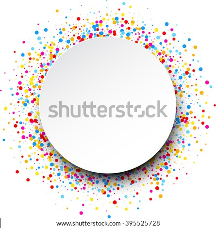White round background with color drops. Vector illustration. - stock vector