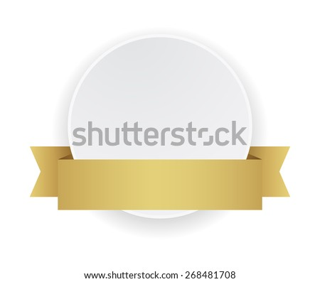 white round banner with gold ribbon - stock vector