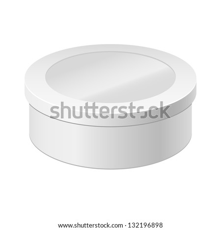White round box isolated on white. Box with a lid and Window. Gift Box - stock vector