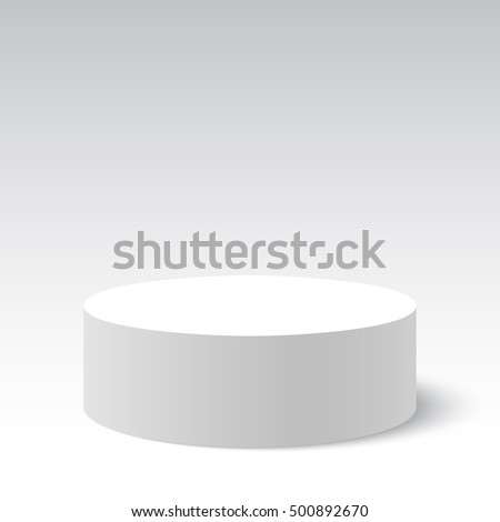 White round box. Package. Cylinder. 3D. Vector illustration.