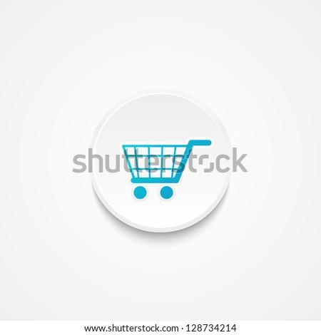 White round button - shopping concept - stock vector