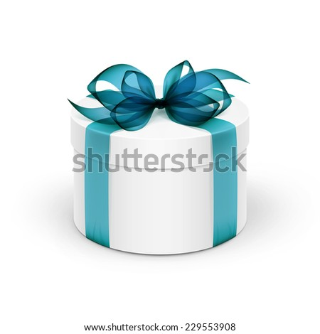 White Round Gift Box with Light Blue Turquoise Azure Ribbon and Bow Isolated on Background
