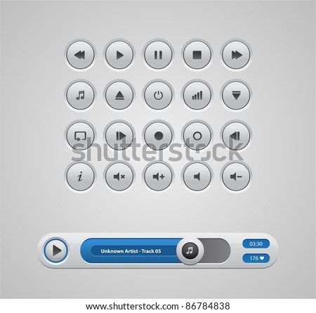 white round media player buttons and audio player isolated on background - stock vector