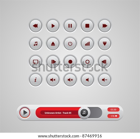 White round media player buttons and red audio player isolated on background - stock vector
