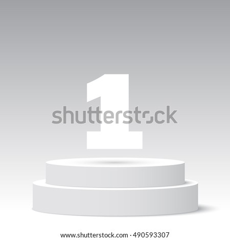 White round podium. First place. Pedestal. 3D. Scene. Vector illustration.