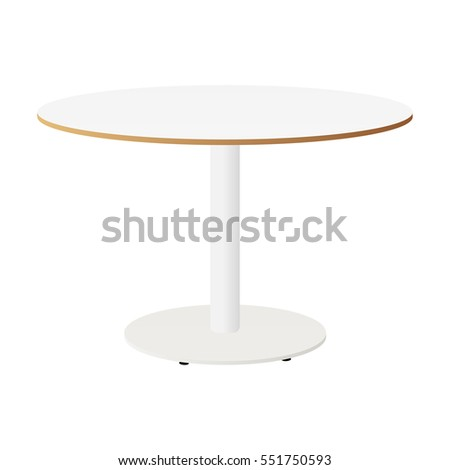 White Round Table Isolated. White Table Ikea. Vector Illustration.