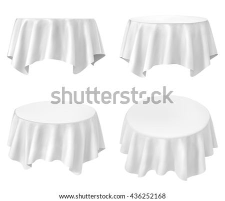 White round tablecloth set isolated on white - stock vector