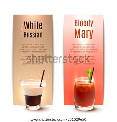 White russian and bloody mary cocktails vertical banner set isolated vector illustration - stock vector