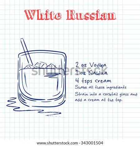 White Russian. Hand drawn illustration of cocktail, including recipes and ingredients. Vector collection.