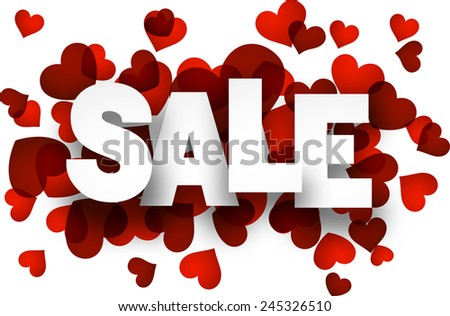 White sale sign over red hearts background. Vector holiday illustration.   - stock vector