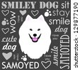 White Samoyed dog - stock vector