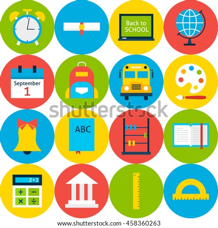 White School Background with Circles. Flat Style Vector Pattern. Education and College.
