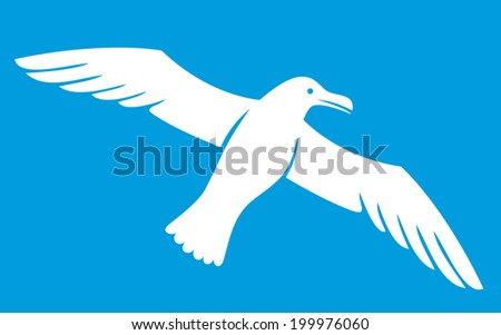 white seagull (seagull icon, flying seagull) - stock vector
