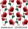 white seamless background with beautiful red flowers - stock vector
