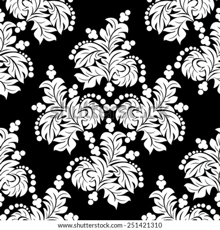 White seamless floral Ornament on black - stock vector