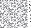white seamless lace floral pattern on gray background - stock vector