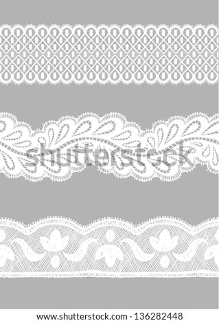 White seamless lace lines set. - stock vector