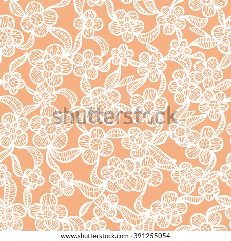 White Seamless Lacy Pattern with Hand Drawn Floral Elements. Vector Illustration. - stock vector