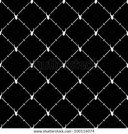 White seamless pattern with monkey symbol on black, 10eps. - stock vector