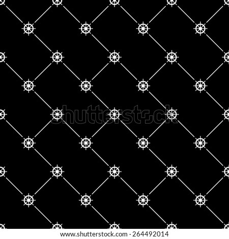 White seamless pattern with ships wheel symbol on black, 10eps. - stock vector