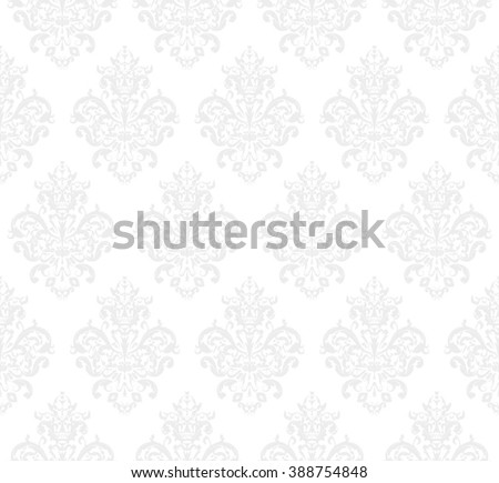 White Seamless repeating Vector Pattern. Elegant Design in Baroque Style Background Texture.  - stock vector