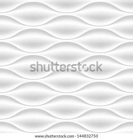 White seamless texture. Wavy background. Interior wall decoration. 3D Vector interior wall panel pattern. - stock vector